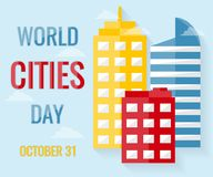 World Cities Day, 31 October. Buildings and cityscape conceptual illustration vector Stock Photos