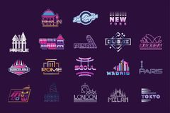 World cities labels set, logo graphic templates vector Illustrations. On a putple background vector illustration