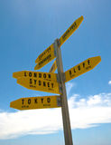 World cities signpost. In New Zealand Stock Photos