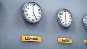 World cities time on office wall clocks stock illustration
