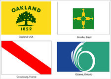 World city flags set. Illustration of the official municipal flags of the following cites (with official colors and sizes): Ottawa (Ontario), Oakland (USA) Stock Photography