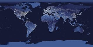 World City Lights Map. Night Earth View From Space. Vector Illustration Royalty Free Stock Photo