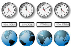 World city time zone clocks and globes. Four clocks and globes for world time zones with city name signs Stock Images