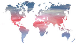 World climate and temperature. Blue and red climate change graphic with red and blue on a world map over white vector illustration
