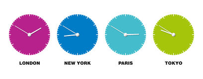 World Clock. Clock showing time of four major cities Stock Images