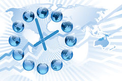 World clock. With 12 globes showing earth in various positions Stock Photo