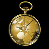 World clock. Gold pocket watch shaped like a globe Stock Photo