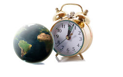 World clock. World and clock isolated on white with drop shadow Stock Photos