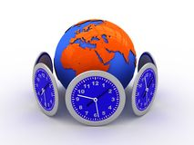 World clock. 3d illustration of clocks around the earth Royalty Free Stock Images