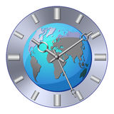 World clock. Isolated analog clock with world map on white background royalty free illustration