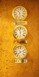 World clock at the reception wall Royalty Free Stock Image