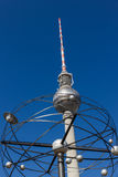 World clock and television tower in Berlin Royalty Free Stock Photos