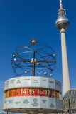 World clock and television tower in Berlin Stock Images