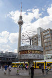 World clock and television tower (Fernsehturm) at Alexanderplatz Royalty Free Stock Photos