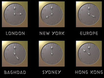 World clocks. 6 clocks from cities around the world royalty free illustration