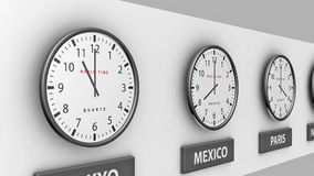 World clocks. 3d animation loop of clocks on a wall telling time in different locations