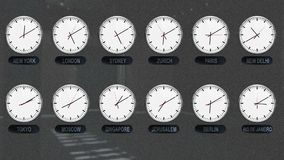 World Clocks with Different Time Zones in Time Lapse. Accurate Clocks with Different Time Zones All over the World in Time Lapse stock footage