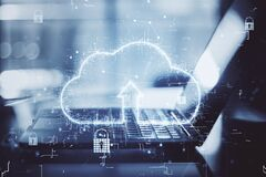 Free World Cloud Service Concept With Digital Cloud Sign With Arrow Up And Laptop At Abstract Background. Double Exposure Stock Image - 210638221