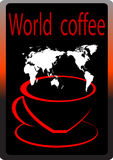 World Coffee. Cup of coffee whit black background Stock Image