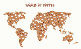 World of coffee - map and different kinds Royalty Free Stock Photo