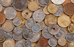 World coins. Many coins from various countries background Stock Photography