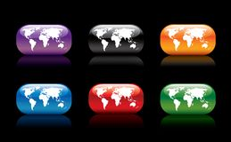 World collection. Colorful world map collection royalty free illustration