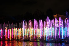 World of Color show in California Adventure. Beautifully colored lights in water at Disney's California Adventure Park.  Water show is popular nighttime Royalty Free Stock Image