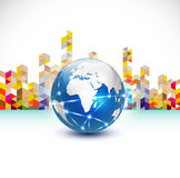 World with communication concept and abstract city building, vector &  illustration Royalty Free Stock Photography