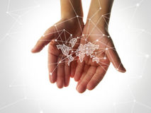 World community. Social community in theworld with many light lines Royalty Free Stock Photo
