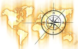 World and Compass. Rose. Yellow-Orange Motion Blurred World Map and Black Compass Rose Stock Photos