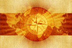 World Compass on Canvas Royalty Free Stock Image