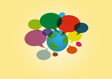 World communication. Bubbles communication all around the world. Vector illustration Royalty Free Stock Photo