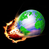 World concept. World in air through fire and flames Stock Photos