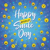 World Smile Day festive greetings with letters. World congrats. Coloured smiling characters set. Congratulating celebrating isolated template. Collection of web vector illustration