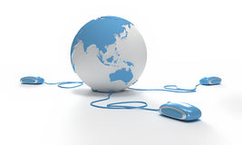 World connection Asia oriented. Blue and white Earth Globe oriented to Asia connected with three computer mouses Royalty Free Stock Photo