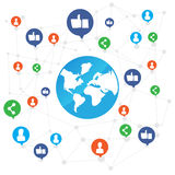 World connection with like and share icon on white background ve Stock Images