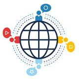 World connection, social sites web, communication concept Stock Photos