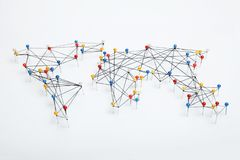 World connections map on white background stock photos