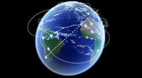 World connections networks. A worldwide network expanding over the world  Globe world connections networks Stock Images