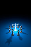 World conspiracy (chess metaphor). 3D rendering illustration. Standing Out from the Crowd. Available in high-resolution and several sizes to fit the needs of Stock Illustration