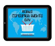 World Consumer Rights Day theme. Shopping basket, world map on screen tablet pc computer or smartphone. Reminding inscription and. Date. Vector illustration Stock Image
