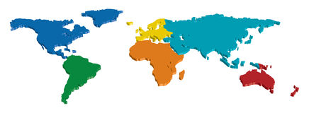 World Continent map. 3D World Continent map separated by color Stock Photography