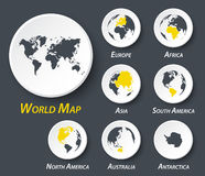 World and continent map on circle . Stock Photography