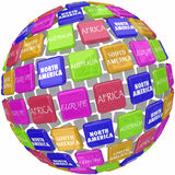 World Continent Names on 3d Globe Tiles Travel Around Earth Royalty Free Stock Image