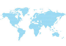 World Continents Map - Dots style illustration Royalty Free Stock Image