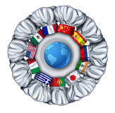 World Cooking. And international food dishes with a group of chef hats from around the world as Italian Chinese French around a white plate with a globe of the Royalty Free Stock Image