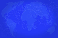 World cooperation background. Gears cooperating on a world map Royalty Free Stock Photos
