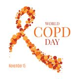 COPD day ribbon poster. World COPD day poster with an orange ribbon made of dots on white background. Chronic obstructive pulmonary disease awareness month Royalty Free Stock Photo