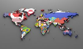 World countries flags. Map symbols -3d render royalty free illustration