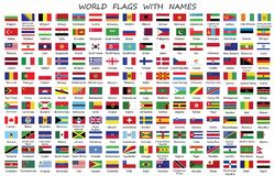 World Countries flags with names royalty free illustration